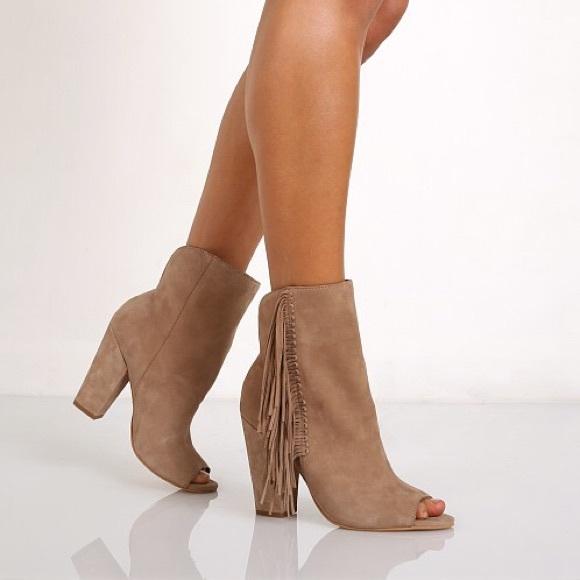 f2cdd2a3c2c5 Dolce Vita Shoes - Dolce Vita Mazarine Peep Toe Fringe Bootie